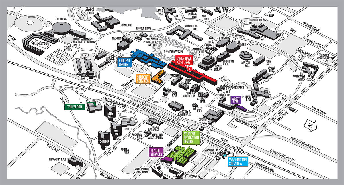 Campus map and Faner Building Map